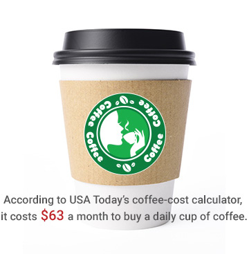 Less than a cup of coffee a day